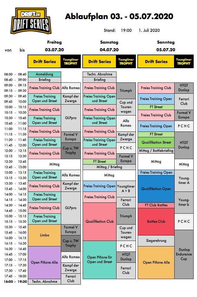 Drift Series   Saison 2020   Termine und Zeitpläne   Zeitplan Lauf 1